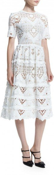 Alexis Benati Crochet Short-Sleeve Midi Dress, White • Alexis • $693