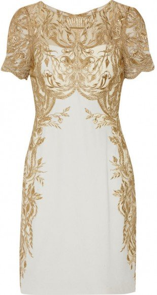 Marchesa Notte Embroidered Tulle and Silk-Crepe Mini Dress • Marchesa • $591.50