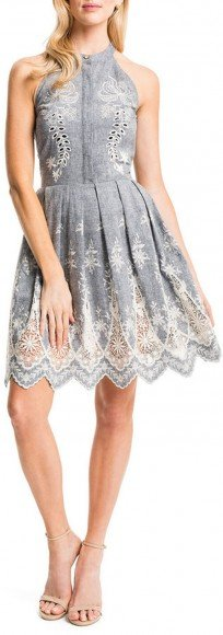 Cynthia Steffe Judith Sleeveless Embroidered Pleated-Skirt Halter Dress • Cynthia Steffe • $288