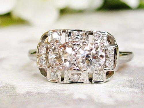 European Cut Art Deco Engagement Ring