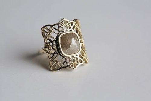 Rose Cut Engagement Ring