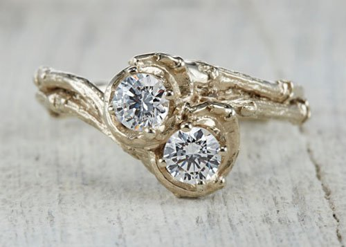 14kt Gold and White Sapphire, Moissanite or Diamond Customizable Twig Engagement Wedding Ring