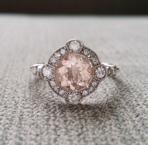 Estate Halo Moraganite Engagement Ring