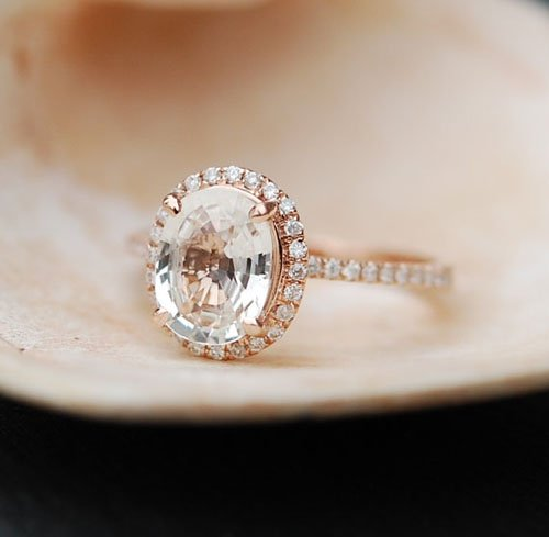 White Sapphire Ring Rose Gold Engagement Ring