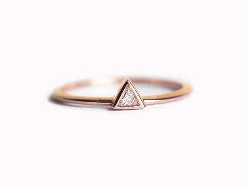Trillion Diamond Rose Gold Engagement Ring