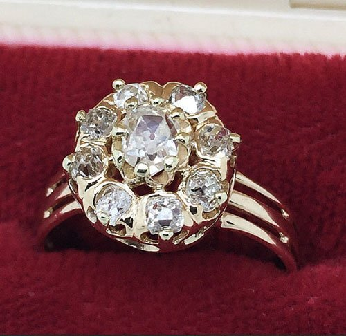Victorian Old Mine Cut Diamond Cluster Engagement Ring