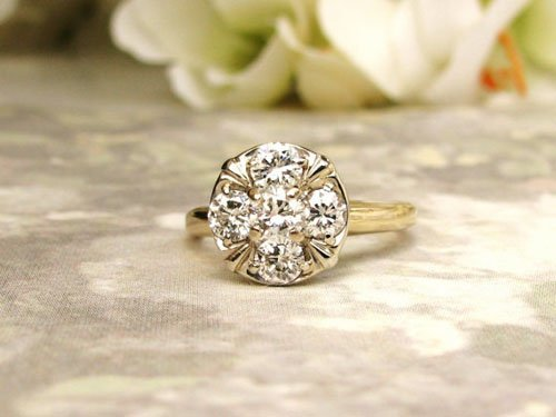 Diamond Cluster Ring 14K Two Tone Gold Floral Ring Antique Diamond Wedding Ring