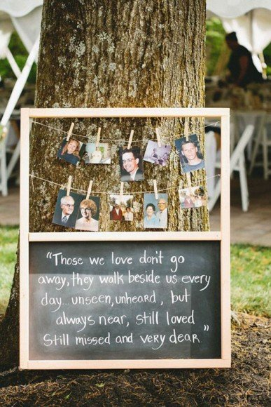 Place photos on a table or something really cool like a tree or plant. Photo by Ruffled Blog