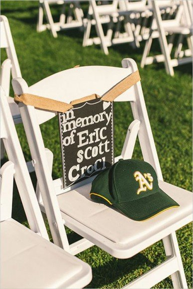 Reserve a seat at the ceremony and place a memento (a hat, scarf) of theirs on the chair. Via
