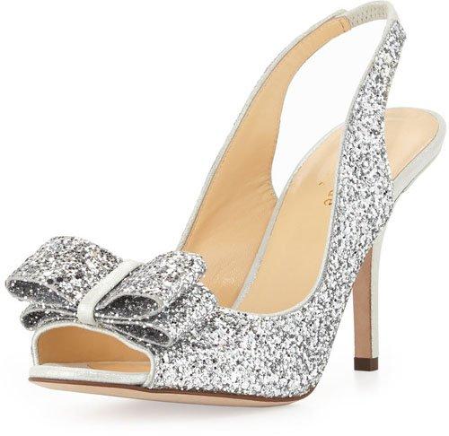 Kate Spade New York Charm Glittered Bow Slingback, Silver • Kate Spade • $328