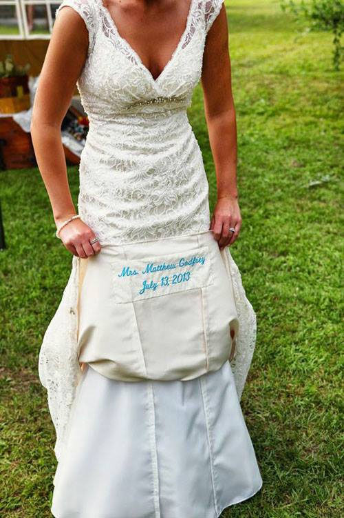 Our most popular wedding ideas woman getting married sew your wedding date into your dress junglespirit Image collections