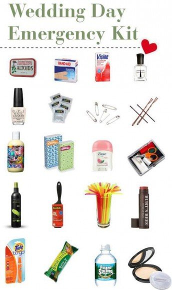 This has some great ideas for wedding day emergency kit options, too.
