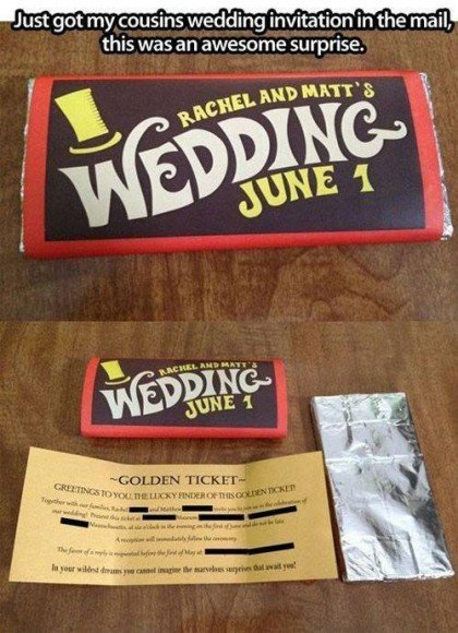 This Willy Wonka-themed wedding invitation is pretty amazing.