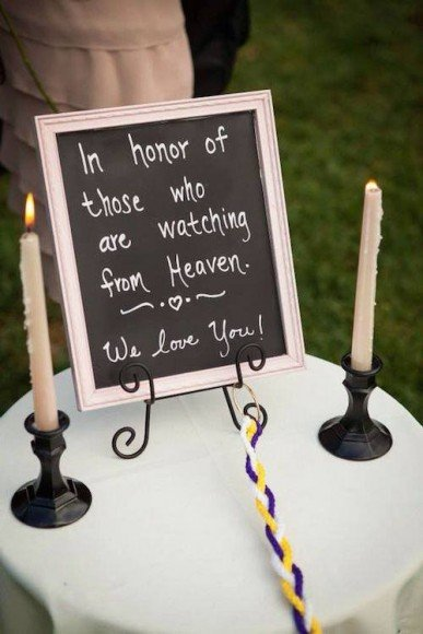 A simple and sweet way to remember loved ones at your wedding. Here are 14 More Ways to Honor Deceased Loved Ones here.