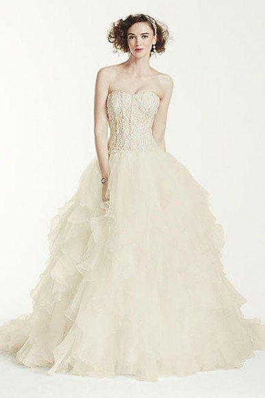 Oleg Cassini Strapless Ruffled Skirt Wedding Dress, Style CWG568. In Store & Online. $1,150.00. Buy it Here