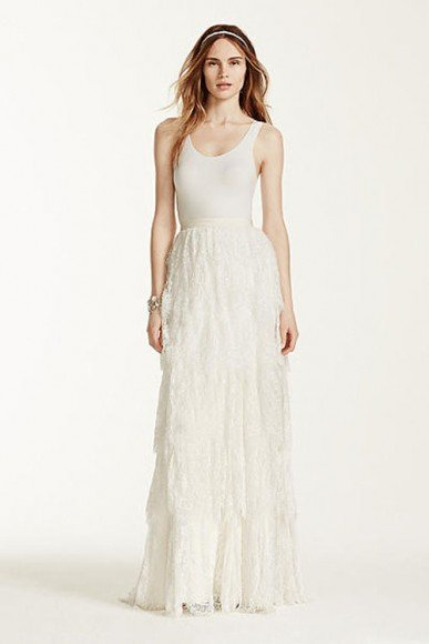 Melissa Sweet Lace Tiered Sheath Skirt, Style MS251127, $949.99. Buy it Here