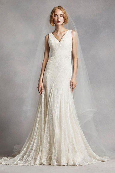 White by Vera Wang V-Neck and Lace Wedding Dress, Style VW351283. $1,298.00 to $1,398.00. Buy it Here