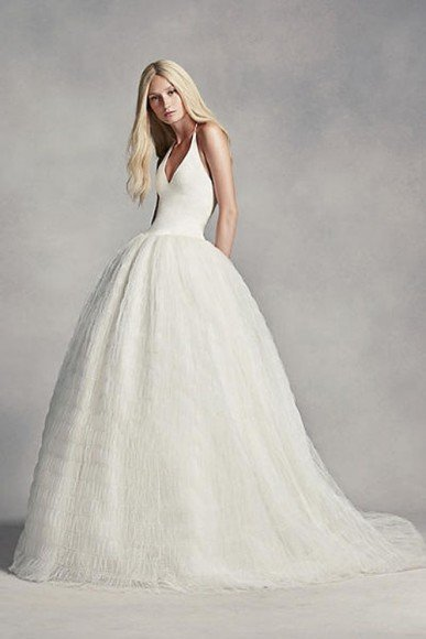 White by Vera Wang Halter Tulle Wedding Dress, Style VW351303. In Store & Online $1,298.00 to $1,398.00.Buy it Here