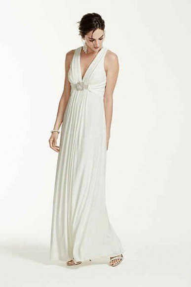 DB Studio Long Jersey Gown with Beaded Knot Detail, Style XS4226. In Store & Online. $159.95. Buy it Here