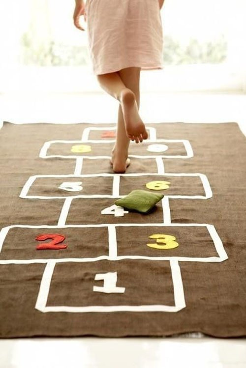 A hop scotch carpet