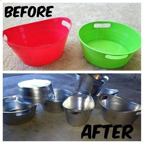 Spray paint plastic toy bins