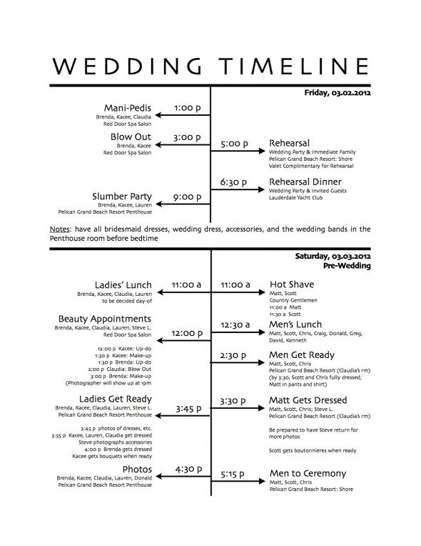 How to Create a Wedding Reception Timeline – Wedding Agenda Template