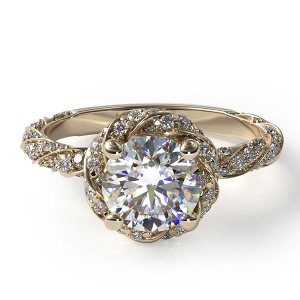 14K yellow gold twisted pave halo engagement ring, Style #17037Y14. $2,280 for setting
