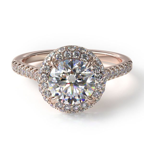 14k rose gold falling edge pave diamond engagement ring, Style #17085R14. $1,490 for setting