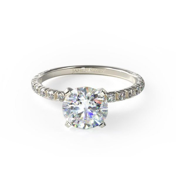 14k white gold thin french-cut pave set diamond engagement ring, Style #17158W14. $575 for setting