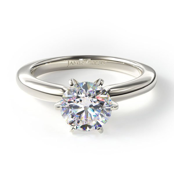 14k white gold 2MM comfort fit solitaire engagement ring, Style #17928W14. $440 for setting
