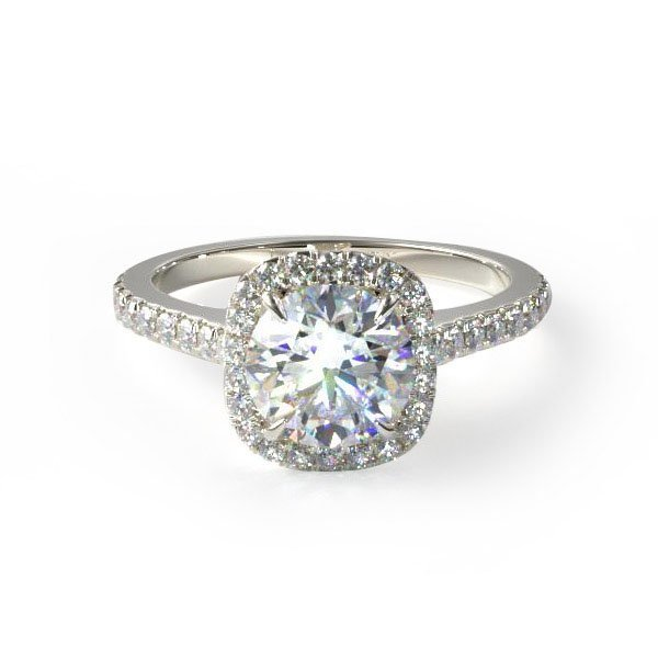 14k white gold cushion outline pave engagement ring. Style #17086W14. $1,350 for setting