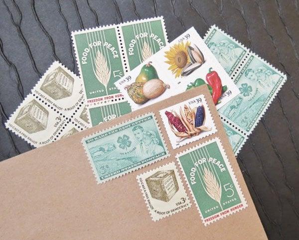 Verde Studio Harvest Unused Vintage Postage Stamps, $7.50 for set of 20 stamps