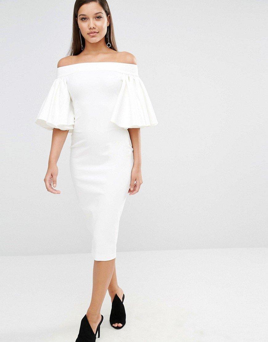 AQ/AQ Rising Midi Dress in Cream, $255