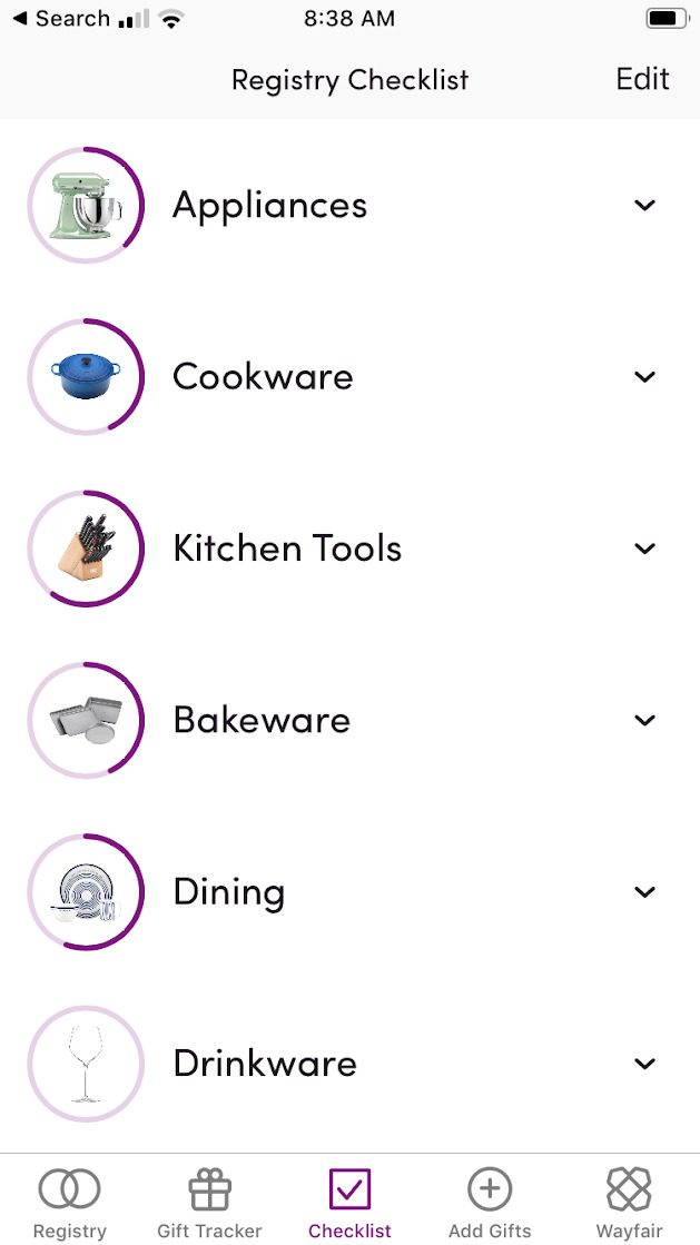 Wayfair wedding registry