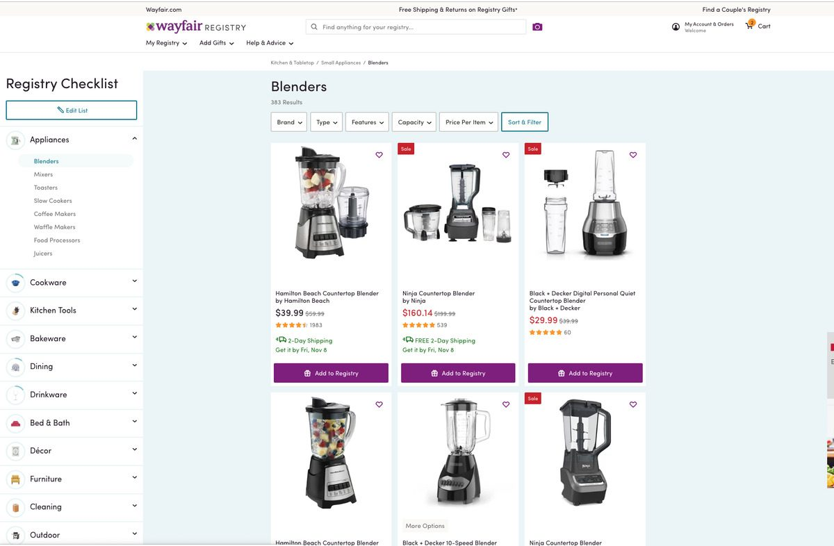 Wayfair wedding registry review
