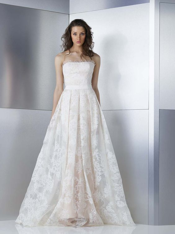 straight across neckline wedding dress