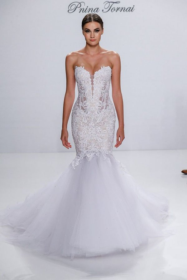 exaggerated drop waistline wedding dress