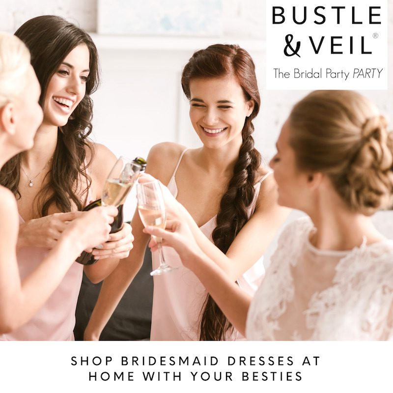 shop bridesmaid dresses with bustle and veil