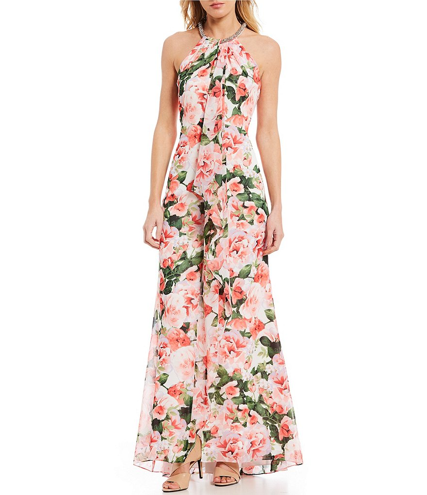 fcdb019b960 Calvin Klein Halter Necklace Floral Print Ruffle Front Gown ( 188). via  Dillard s