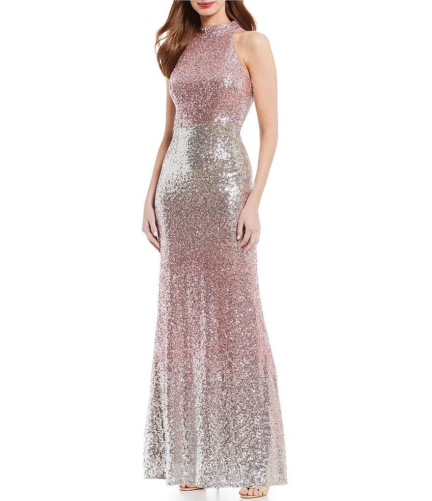 18bd22bf7f8 Vince Camuto Halter Metallic Sequin Gown ( 288). via Dillard s