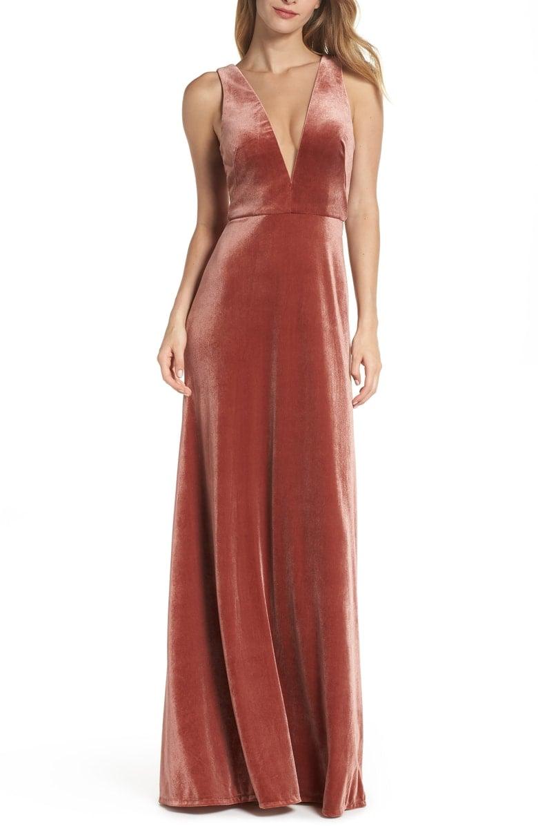 89f927c483 Jenny Yoo Logan Plunging V-Neck Velvet Gown ( 290)