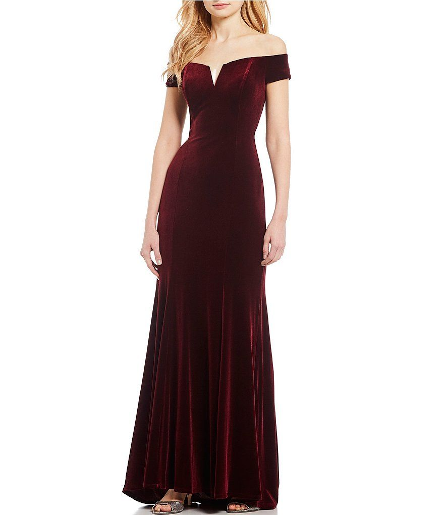 4e8adc37df6 Vince Camuto Sweetheart Off The Shoulder Velvet Gown ( 48). via Dillard s