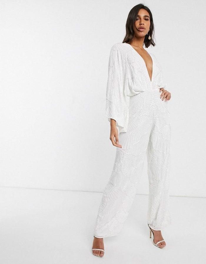 ASOS EDITION Beaded Kimono Sleeve Wedding Jumpsuit