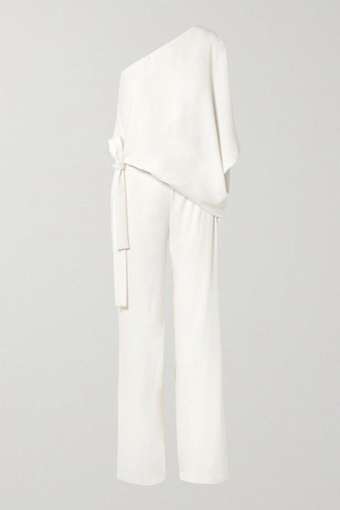 Halston One-Shoulder Crepe Jumpsuit