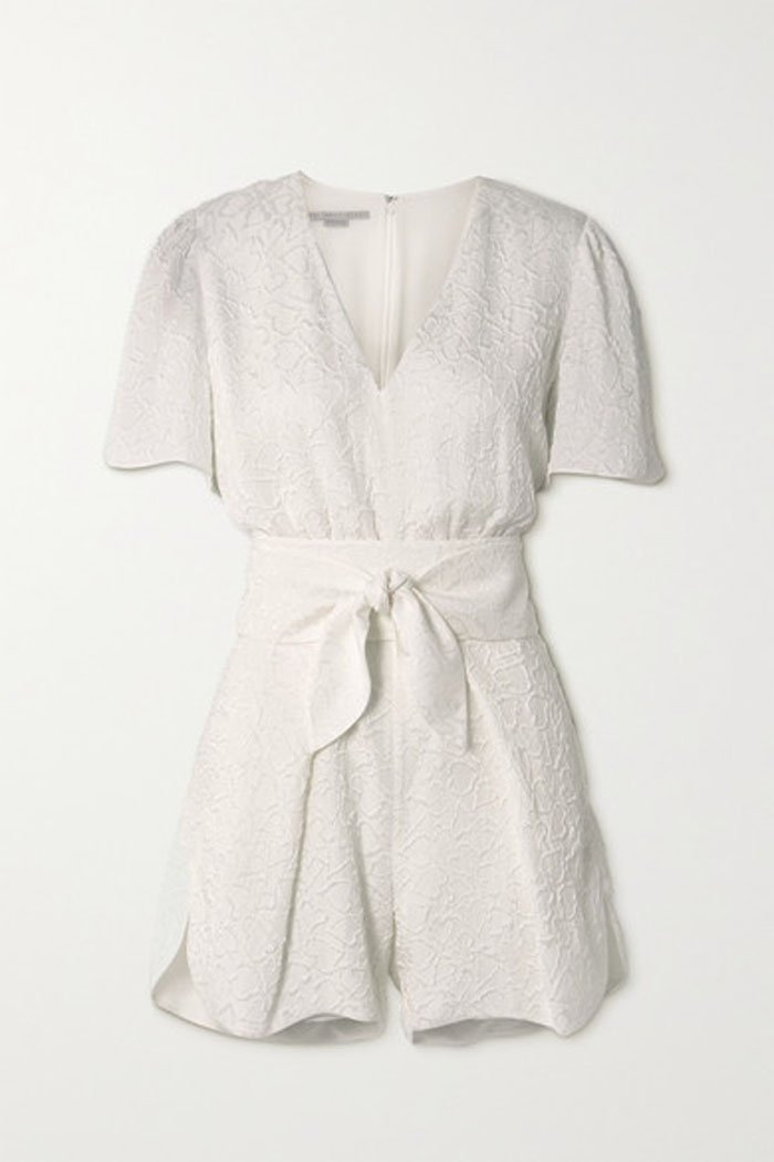 Stella McCartney Lila Belted Silk-blend Cloque Playsuit