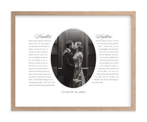 wedding vow picture frame bridesmaid gift